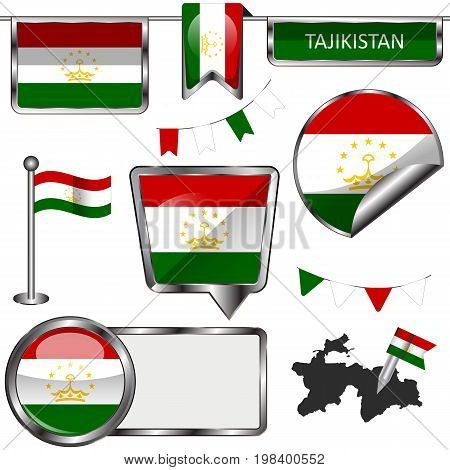Glossy Icons With Flag Of Tajikistan