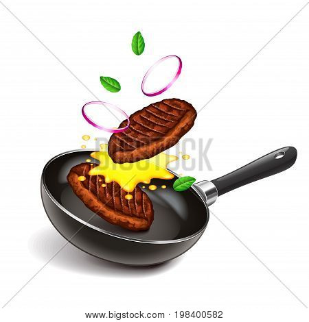 Frying steaks on pan isolated photo-realistic vector illustration