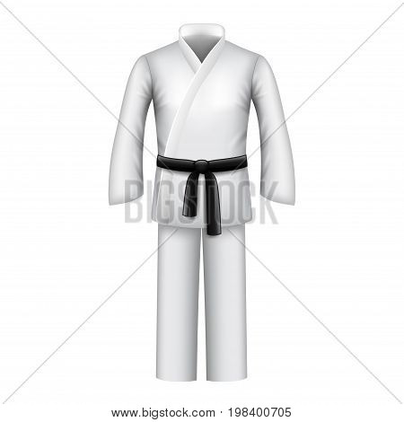 Karate kimono isolated on white photo-realistic vector illustration