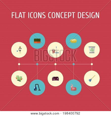 Flat Icons Gauntlet, Sponge, Sofa And Other Vector Elements