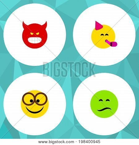 Flat Icon Emoji Set Of Frown, Party Time Emoticon, Pouting And Other Vector Objects