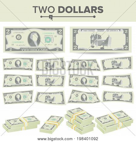 2 Dollars Banknote Vector. Cartoon US Currency. Two Sides Of Two American Money Bill Isolated Illustration.