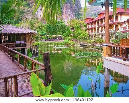 Railay, Krabi, Thailand - February 02, 2010: The pond at Railay Village Resort at tropical Thailand island at Railay, Krabi, Thailand on February 02, 2010