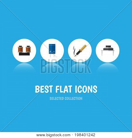 Flat Icon Appliance Set Of Coil Copper, Repair, Destination And Other Vector Objects
