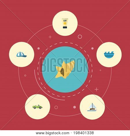 Flat Icons Sea, Shell, Sailboard And Other Vector Elements