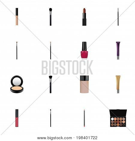 Realistic Multicolored Palette, Make-Up Product, Pomade And Other Vector Elements