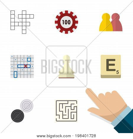 Flat Icon Play Set Of Sea Fight, Labyrinth, Chequer And Other Vector Objects