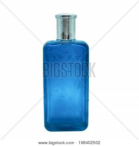 the isolated blue fresh bottle fragrant perfumes on white background