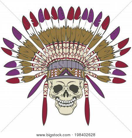 Skull With Indian Headdress