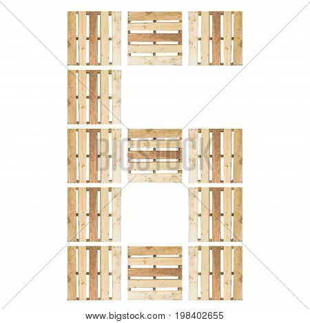top view of isolated symbol number digit 6 (six) in wood pallet pattern on the white background