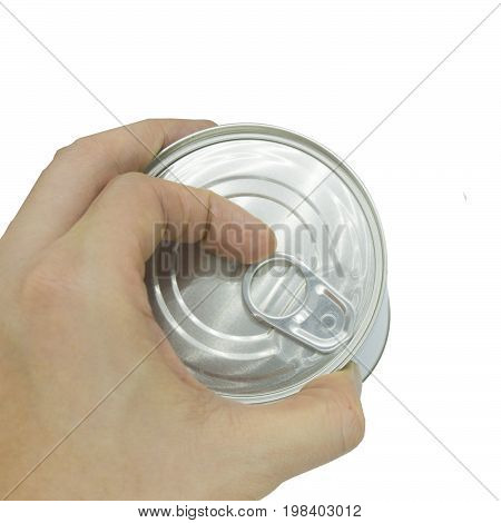 top view of hand open the cover Aluminum canned food on white background.