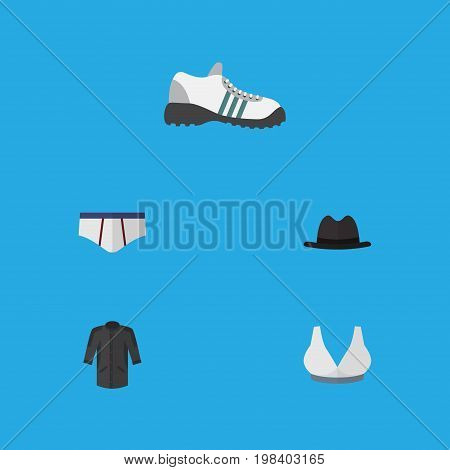 Flat Icon Dress Set Of Brasserie, Uniform, Sneakers And Other Vector Objects