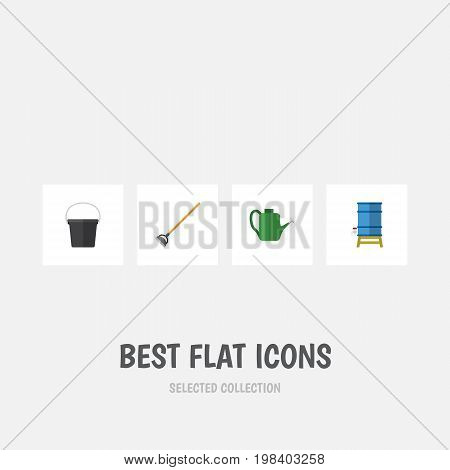 Flat Icon Dacha Set Of Tool, Container, Bailer And Other Vector Objects