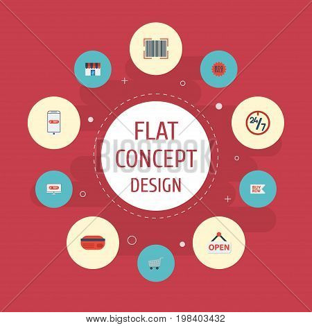 Flat Icons Trolley, Buy Now, Sign And Other Vector Elements