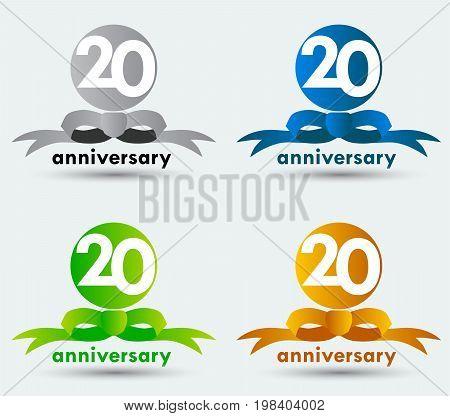 Logo Twentieth Anniversary Symbol. Blue,Green,Cray,and Gold Color.