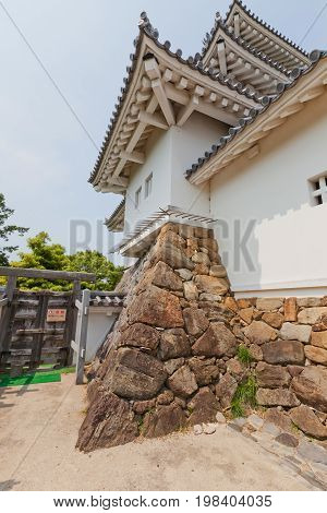 KAKEGAWA JAPAN - MAY 29 2017: Part of reconstructed Main Keep (donjon) of Kakegawa Castle Japan. Castle was founded in 1497 by Asahina Yasuhiro demolished in 1869 and reconstructed in 1993