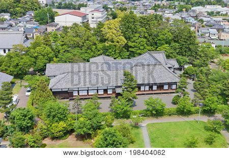 KAKEGAWA JAPAN - MAY 29 2017: Survived Palace of the Second Bailey (Ninomaru Goten rebuilt in 1861) of Kakegawa Castle Japan. Castle was founded in 1497 by Asahina Yasuhiro and demolished in 1869