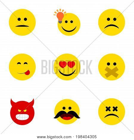 Flat Icon Expression Set Of Have An Good Opinion, Pouting, Hush And Other Vector Objects