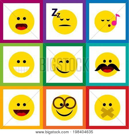Flat Icon Face Set Of Cheerful, Winking, Descant And Other Vector Objects