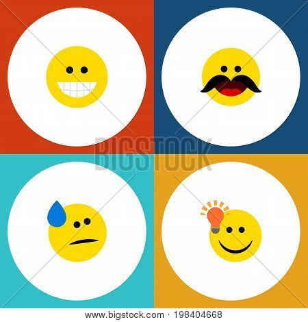 Flat Icon Gesture Set Of Tears, Grin, Cheerful And Other Vector Objects