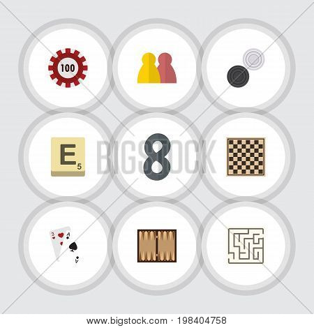 Flat Icon Entertainment Set Of Ace, Labyrinth, Mahjong And Other Vector Objects