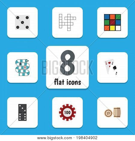 Flat Icon Games Set Of Lottery, Poker, Ace And Other Vector Objects