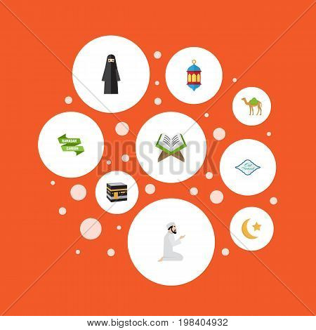 Flat Icons New Lunar, Holy Book, Mecca And Other Vector Elements