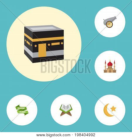 Flat Icons Artillery, Minaret, Holy Book And Other Vector Elements