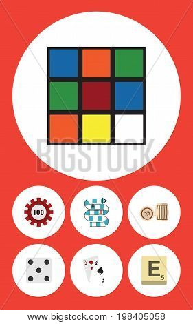 Flat Icon Entertainment Set Of Backgammon, Ace, Cube And Other Vector Objects