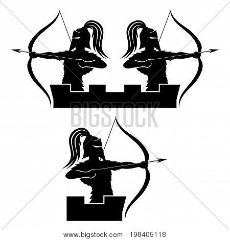 Warrior archer sign on a white background.