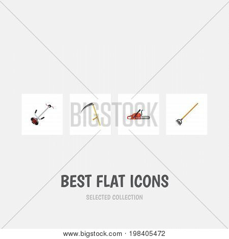 Flat Icon Garden Set Of Tool, Hacksaw, Cutter And Other Vector Objects