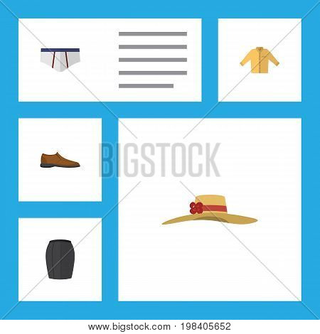 Flat Icon Dress Set Of Male Footware, Stylish Apparel, Banyan And Other Vector Objects
