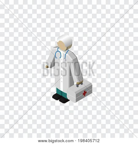 Medic Vector Element Can Be Used For Doctor, Medic, Hospital Design Concept.  Isolated Doctor Isometric.