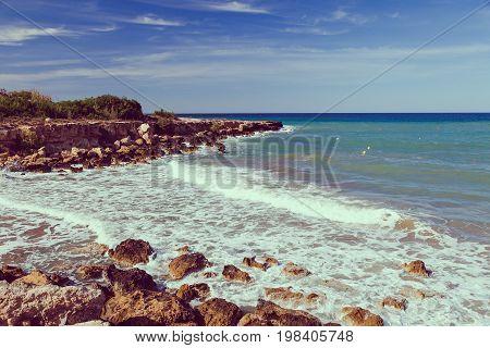 Beautiful Panoramic Sea View On Ayia Napa Near Of Cavo Greco, Cyprus Island, Mediterranean Sea. Amaz