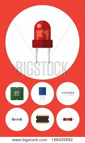 Flat Icon Electronics Set Of Recipient, Resistance, Memory And Other Vector Objects