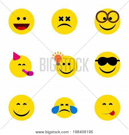 Flat Icon Gesture Set Of Smile, Party Time Emoticon, Delicious Food And Other Vector Objects