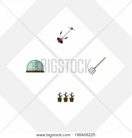 Flat Icon Farm Set Of Grass-Cutter, Flowerpot, Hothouse And Other Vector Objects