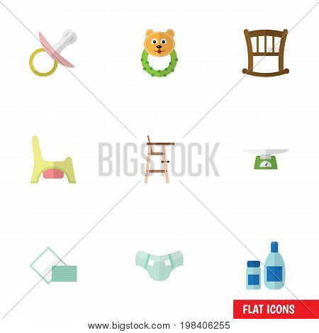 Flat Icon Infant Set Of Nipple, Children Scales, Nappy And Other Vector Objects