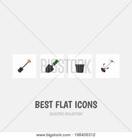 Flat Icon Farm Set Of Trowel, Spade, Pail And Other Vector Objects