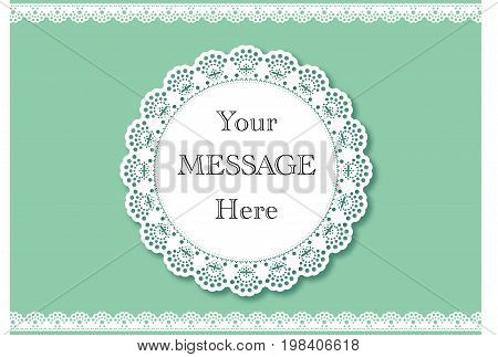 Wedding invitation. Lace background with a place for text. Vintage lace vector design