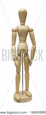 Wooden jointed doll isolated on white background.