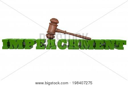 Impeachment with a gavel rendered in 3D