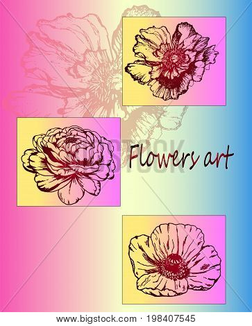 Neon, color poster of botany - bright, stylish flowers - ideas of a tattoo. Botany Poster. Flowers close-up