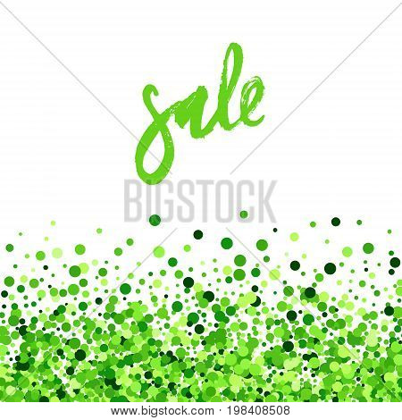 Sale vector creative banner with green scattered circles. Summer design. All isolated and layered