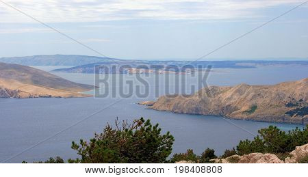 view on islands while hiking in Baska, island Krk in Croatia