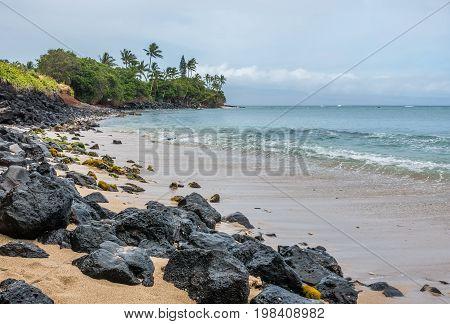 A view of the shoreline in the Kahana area of Maui Hawaii.