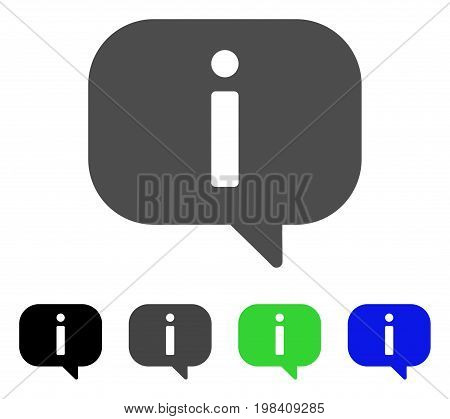 About flat vector pictograph. Colored about, gray, black, blue, green pictogram versions. Flat icon style for application design.