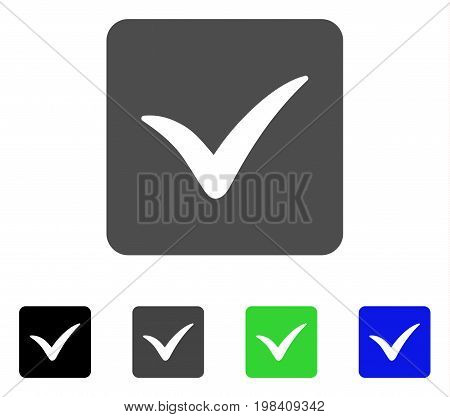 Approve Box flat vector icon. Colored approve box, gray, black, blue, green pictogram versions. Flat icon style for application design.
