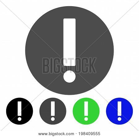Exclamation flat vector pictograph. Colored exclamation, gray, black, blue, green pictogram variants. Flat icon style for web design.