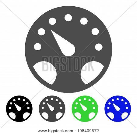 Gauge flat vector pictogram. Colored gauge, gray, black, blue, green pictogram versions. Flat icon style for application design.